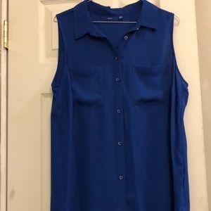 Women's royal blue button up sleeveless blouse